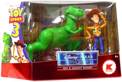Toy Story 3 Disney Pixar Screen Scenes Rex & Sheriff Woody Exclusive Action Figure 2-Pack