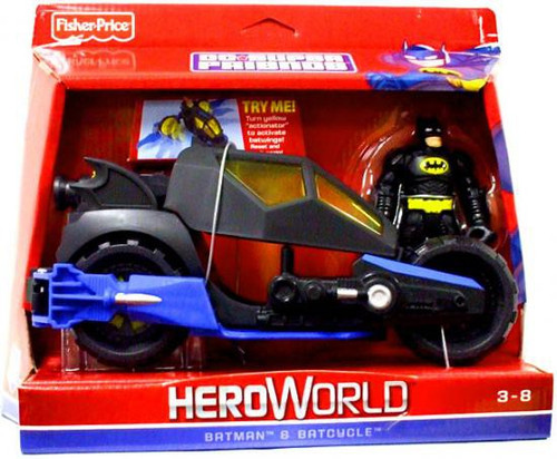 Fisher Price DC Super Friends Hero World Batman & Batcycle Action Figure Set