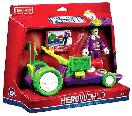 Fisher Price Batman DC Super Friends Hero World The Joker & Funny Car Action Figure Set