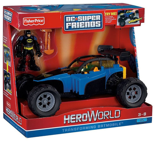 Fisher Price Batman DC Super Friends Hero World Transforming Batmobile Exclusive Action Figure Set