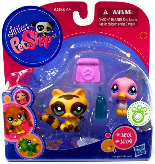 Littlest Pet Shop Raccoon & Bird Exclusive Figure 2-Pack #1501, 1502