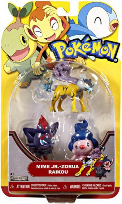 Pokemon HeartGold & Soulsilver Series 19 Mime Jr., Zorua & Raikou Figure 3-Pack