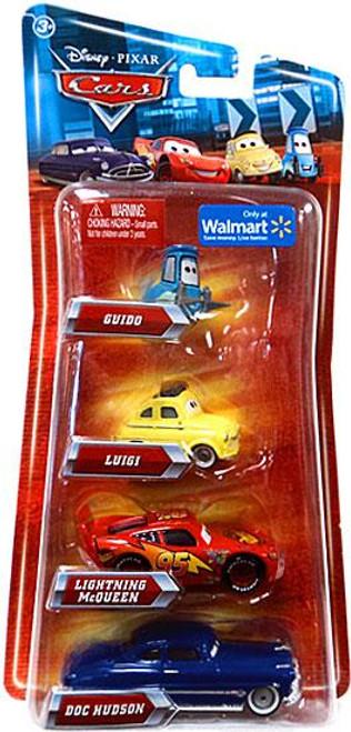 Disney Cars Multi-Packs Guido, Luigi, McQueen & Doc 4-Pack Exclusive Diecast Car Set