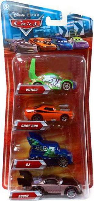 Disney Cars Multi-Packs DJ, Wingo, Snot Rod & Boost 4-Pack Exclusive Diecast Car Set