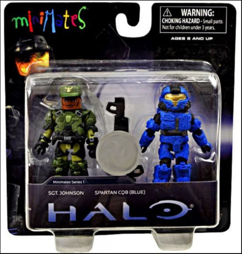 Halo Minimates Series 1 Sgt. Johnson & Spartan CQB [Blue] Exclusive Minifigure 2-Pack