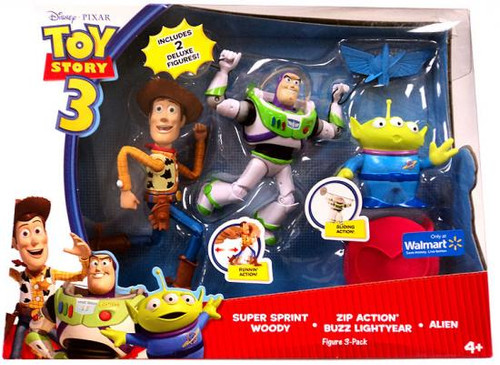 Toy Story 3 Super Sprint Woody, Zip Action Buzz Lightyear & Alien Exclusive Action Figure 3-Pack