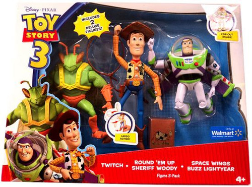 Toy Story 3 Twitch, Round'em Up Woody & Space Wings Buzz Lightyear Exclusive Action Figure 3-Pack