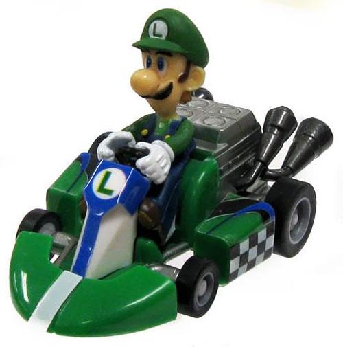Super Mario Mario Kart Gacha Luigi 1 1/2-Inch Pull Back Racer