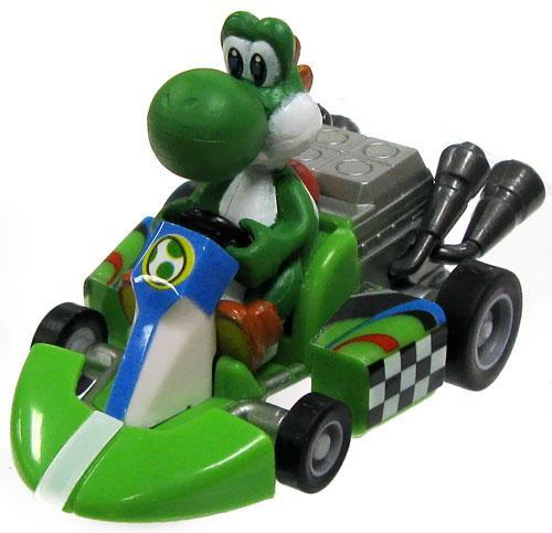 Super Mario Mario Kart Gacha Yoshi 1 1/2-Inch Pull Back Racer