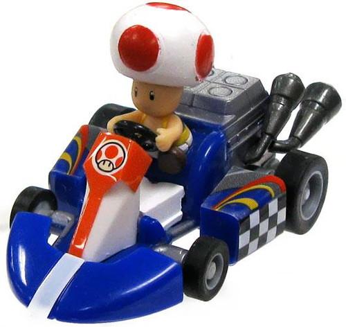 Super Mario Mario Kart Gacha Toad 1 1/2-Inch Pull Back Racer