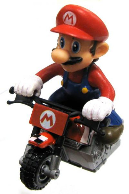 Super Mario Mario Kart Gacha Mario on Bike 1 1/2-Inch Pull Back Racer