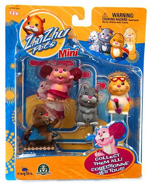 Zhu Zhu Pets Jilly, Scoodles, Num Nums & Patches Mini Figure 4-Pack