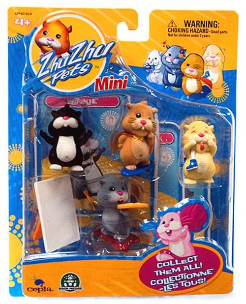 Zhu Zhu Pets Winkie, Mr. Squiggles, Pipsqueak & Yo Yo Mini Figure 4-Pack