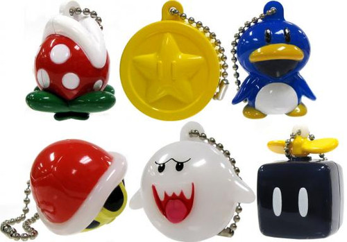 New Super Mario Bros Wii Light Up Collection 2 Set of 6 Keychains