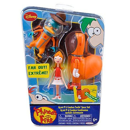 Disney Phineas and Ferb Agent P & Candace Tootin' Space Suit Action Figure 2-Pack