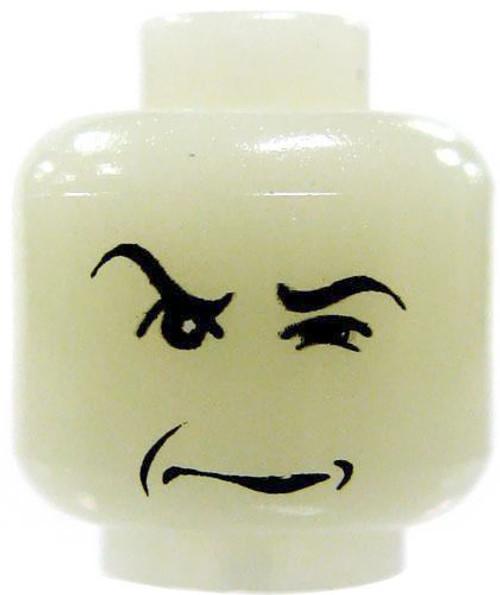 Harry Potter LEGO Minifigure Parts Glow-in-the-Dark Glaring Sneer Minifigure Head [Loose]