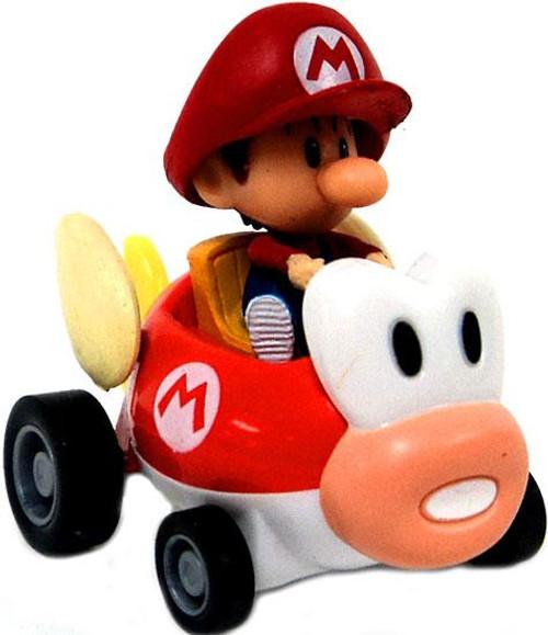Super Mario Mario Kart Gacha Baby Mario 1 1/2-Inch Pull Back Racer