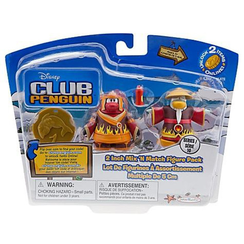 Club Penguin Mix 'N Match Series 10 Fire Ninja & Fire Sensei with Hot Sauce Mini Figure Set