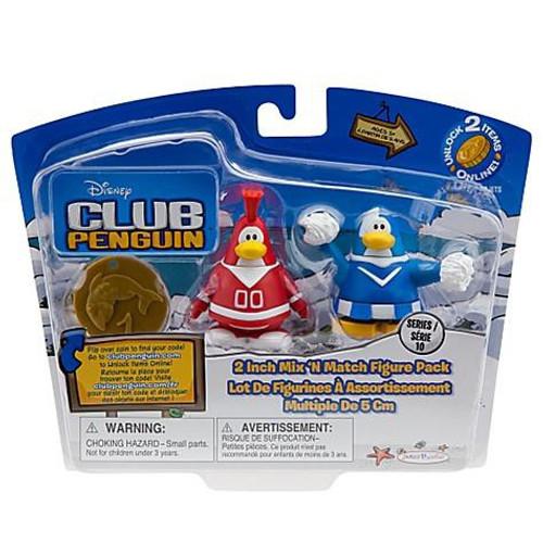 Club Penguin Mix 'N Match Series 10 Red Team & Blue Team Cheerleader Mini Figure Set