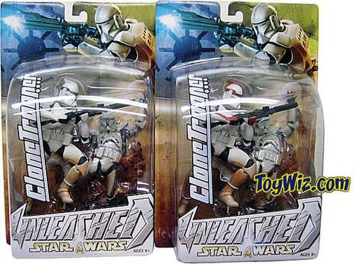 Star Wars Attack of the Clones Unleashed Series 7 Set of 2 Clone Trooper Action Figures