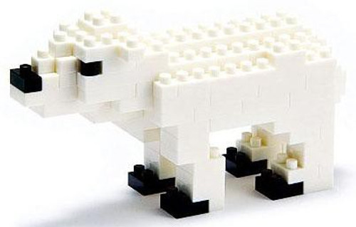Nanoblock Micro-Sized Building Block Polar Bear Figure Set