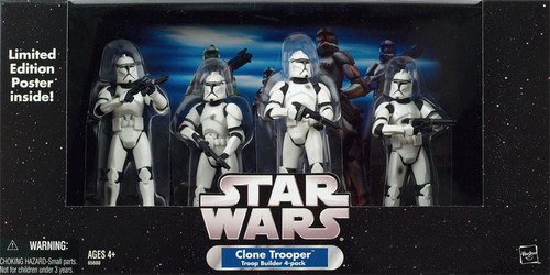 Star Wars Exclusives Clone Trooper Troop Builder 4-Pack Exclusive Action Figure Set [Battle Damaged]
