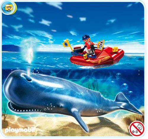 Playmobil Zoo Researcher on Boat and Whale Set #4489