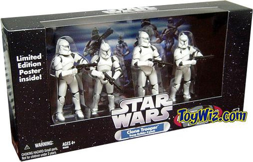 Star Wars Exclusives Clone Trooper Troop Builder 4-Pack Exclusive Action Figure Set [All White]