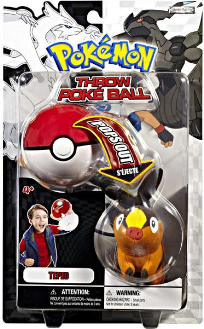 Pokemon Black & White B&W Series 1 Tepig Throw Poke Ball Plush