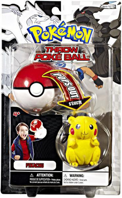 Pokemon Black & White B&W Series 1 Pikachu Throw Poke Ball Plush