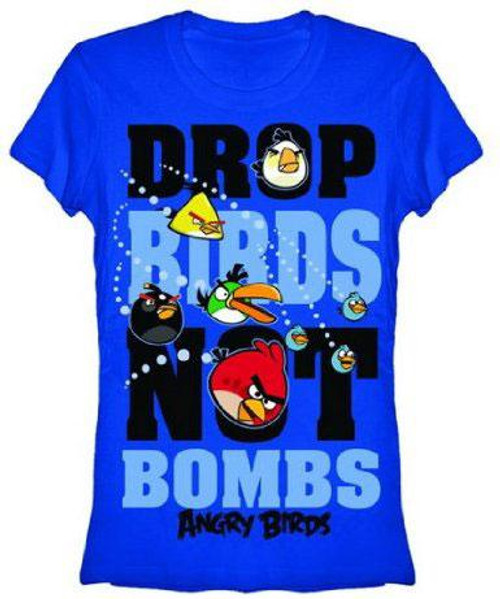 Angry Birds Drop Birds Not Bombs T-Shirt [Women's Small]