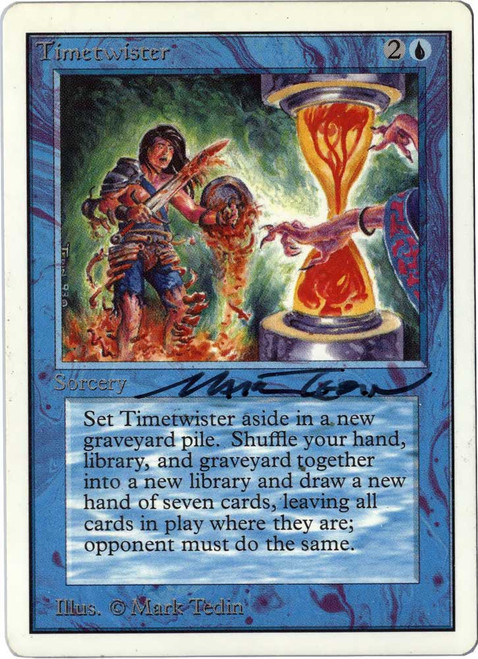 MtG Unlimited Rare Timetwister [Signed by Mark Tedin]