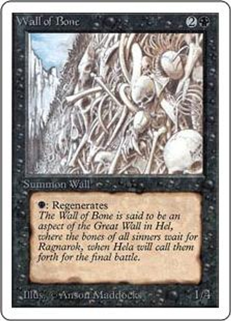 MtG Unlimited Uncommon Wall of Bone [Slightly Played Condition]