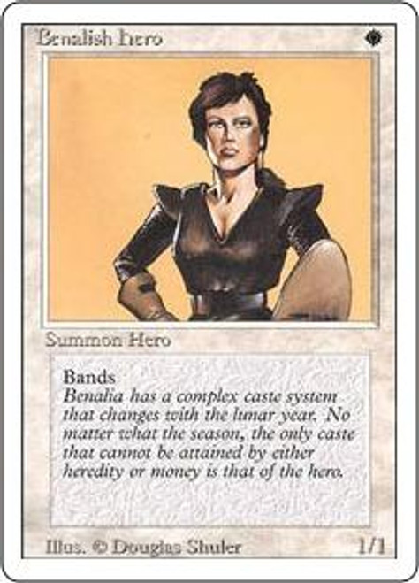 MtG Revised Common Benalish Hero [Slightly Played Condition]