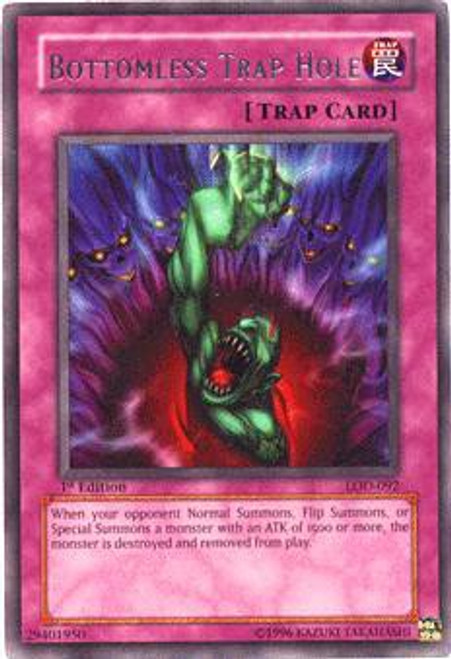 YuGiOh Legacy of Darkness Rare Bottomless Trap Hole LOD-092