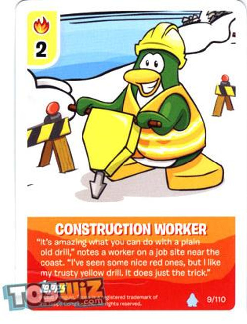Club Penguin Card-Jitsu Basic Series 1 Common Construction Worker #9