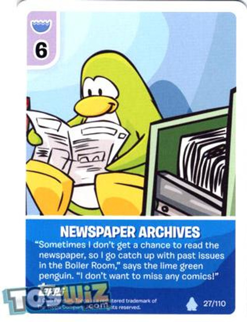 Club Penguin Card-Jitsu Basic Series 1 Common Newspaper Archives #27