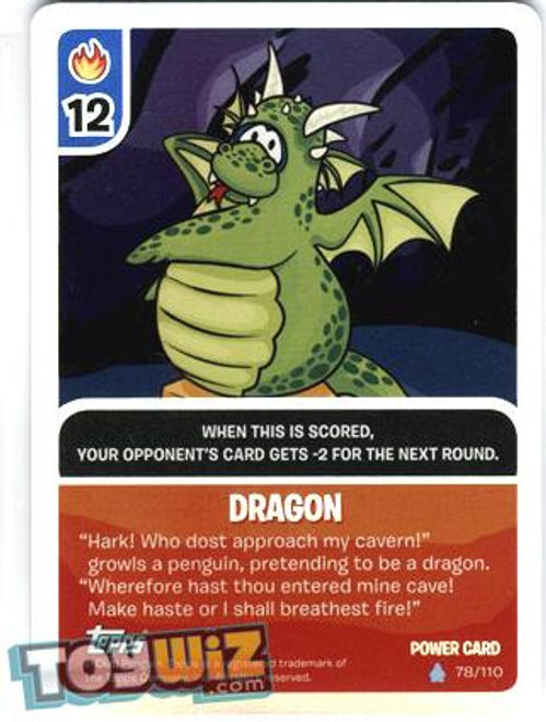 Club Penguin Card-Jitsu Basic Series 1 Foil Power Card Dragon #78
