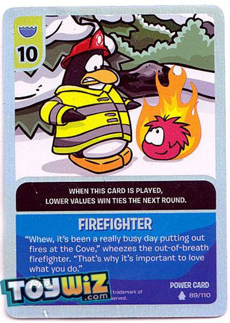 Club Penguin Card-Jitsu Basic Series 1 Foil Power Card Fire Fighter #89