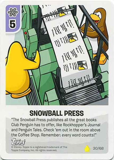 Club Penguin Card-Jitsu Basic Series 2 Common Snowball Press #30