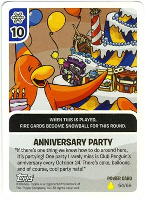 Club Penguin Card-Jitsu Basic Series 2 Foil Power Card Anniversary Party #54