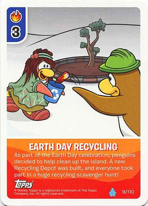 Club Penguin Card-Jitsu Water Series 4 Common Earth Day Recycling #9