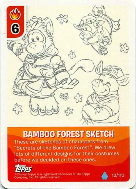 Club Penguin Card-Jitsu Water Series 4 Common Bamboo Forest Sketch #12