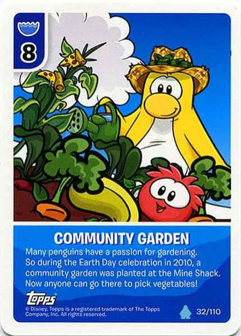 Club Penguin Card-Jitsu Water Series 4 Common Community Garden #32