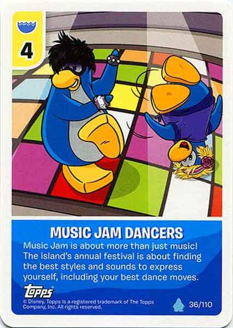 Club Penguin Card-Jitsu Water Series 4 Common Music Jam Dancers #36