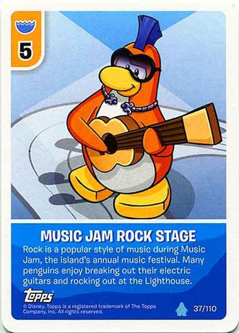 Club Penguin Card-Jitsu Water Series 4 Common Music Jam Rock Stage #37
