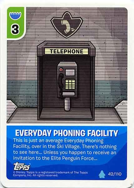 Club Penguin Card-Jitsu Water Series 4 Common Everyday Phoning Facility #42