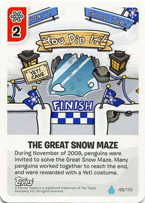 Club Penguin Card-Jitsu Water Series 4 Common The Great Snow Maze #49
