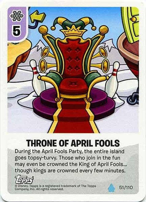 Club Penguin Card-Jitsu Water Series 4 Common Throne of April Fools' #51