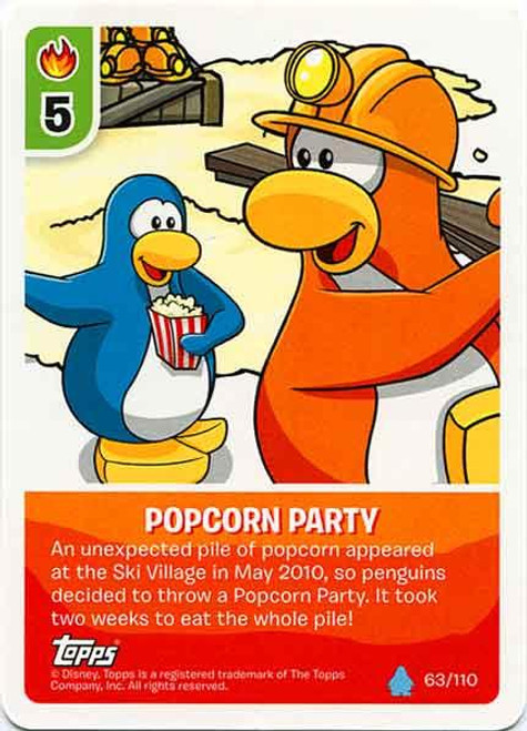 Club Penguin Card-Jitsu Water Series 4 Common Popcorn Party #63